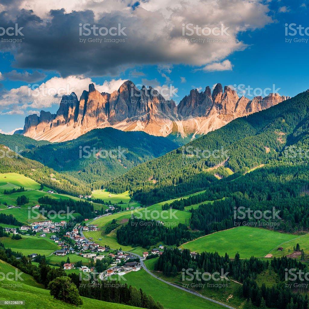 Italian Alps in Funes walley, Dolomites stock photo