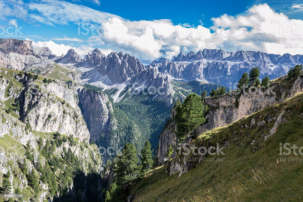 Italian Alps in Val Badia, Natural Park of Puez-Odle stock photo