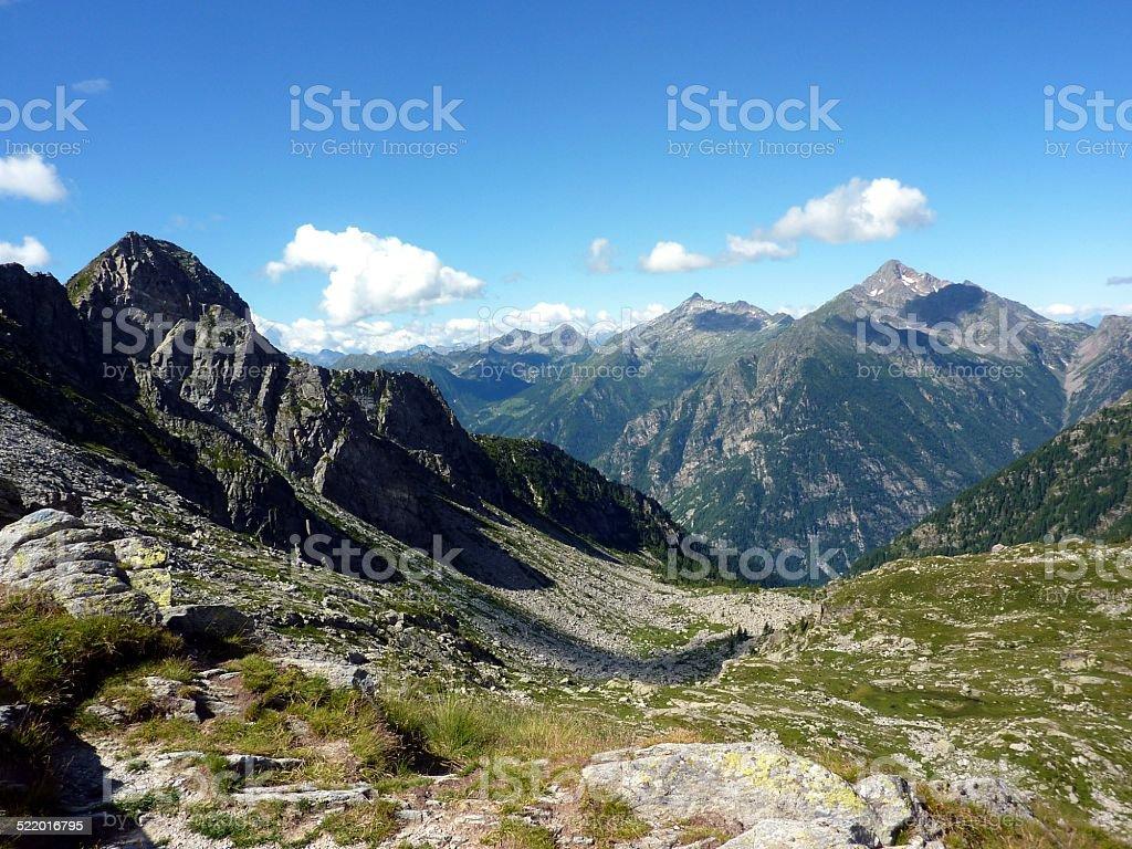 Italian Alps, Valley of Gressoney vector art illustration