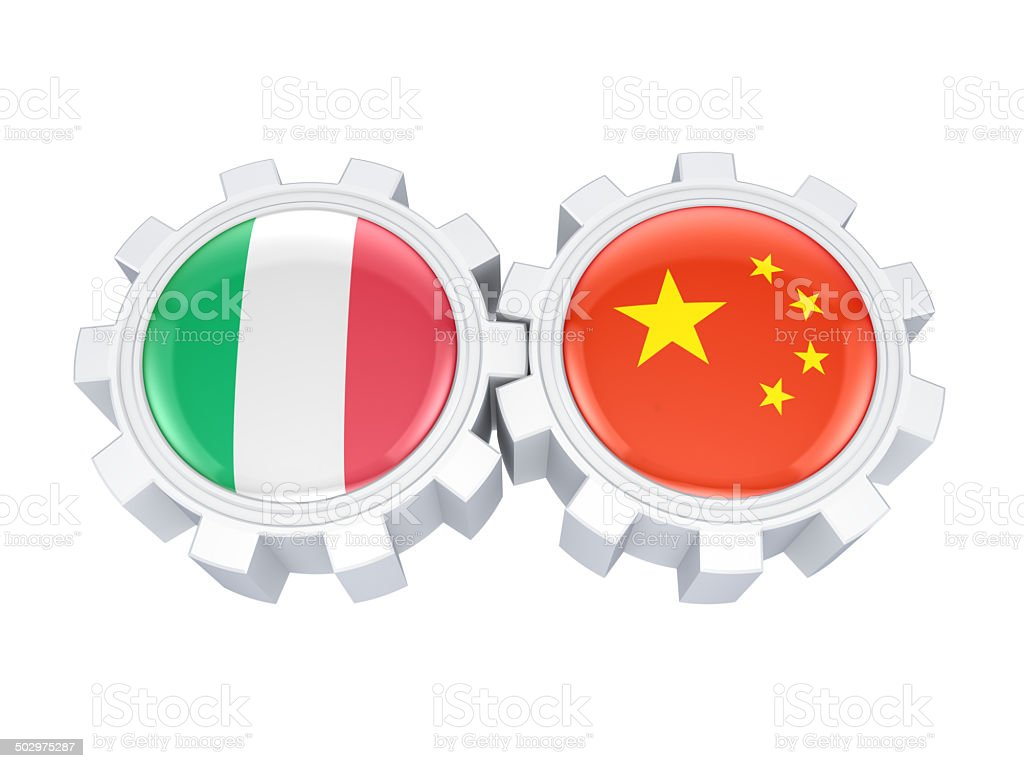 Italian and chinese flags on a gears. royalty-free stock photo
