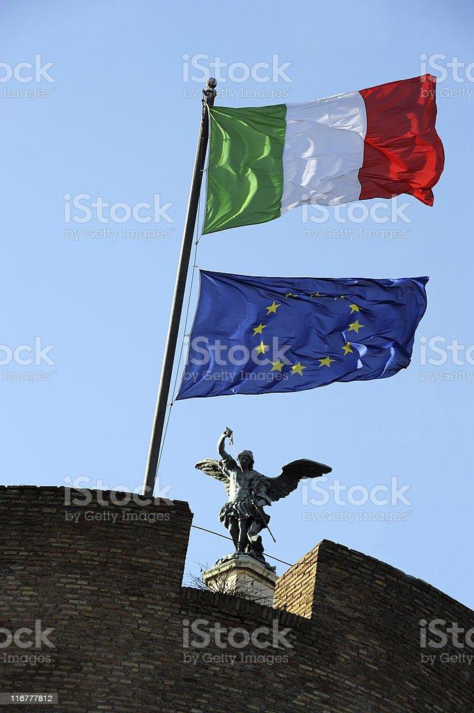 Italian and EU Flag stock photo