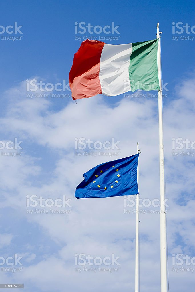 Italian and euro flags. Color Image royalty-free stock photo