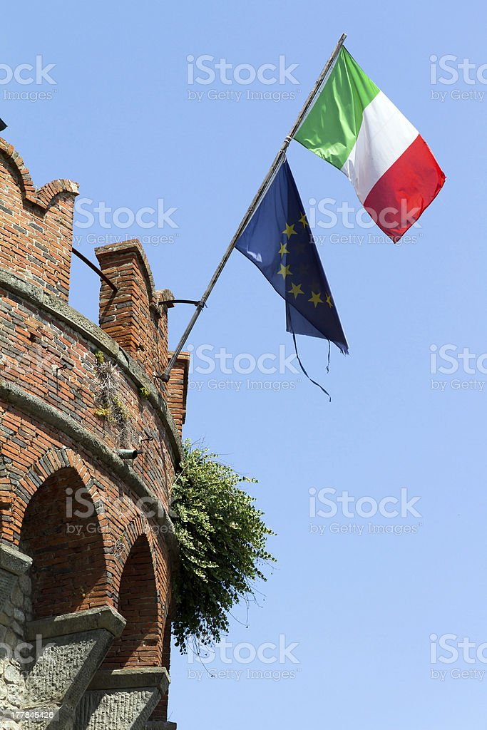 Italian and european flag royalty-free stock photo