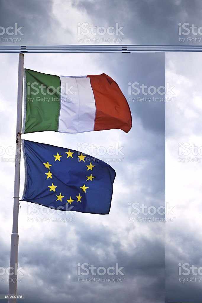 Italian and European Flag royalty-free stock photo