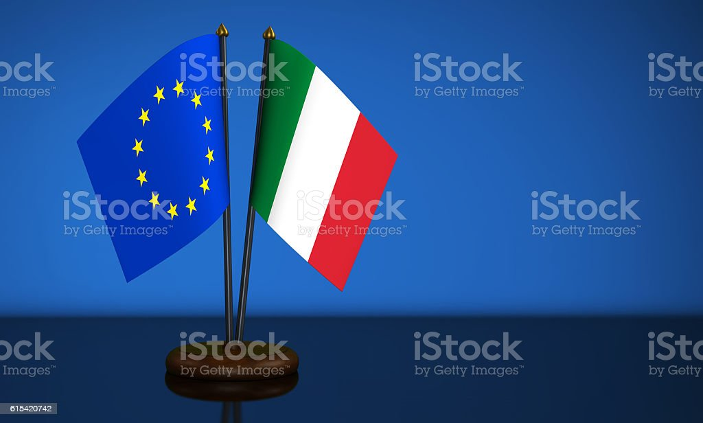 Italian And European Union Desk Flags stock photo