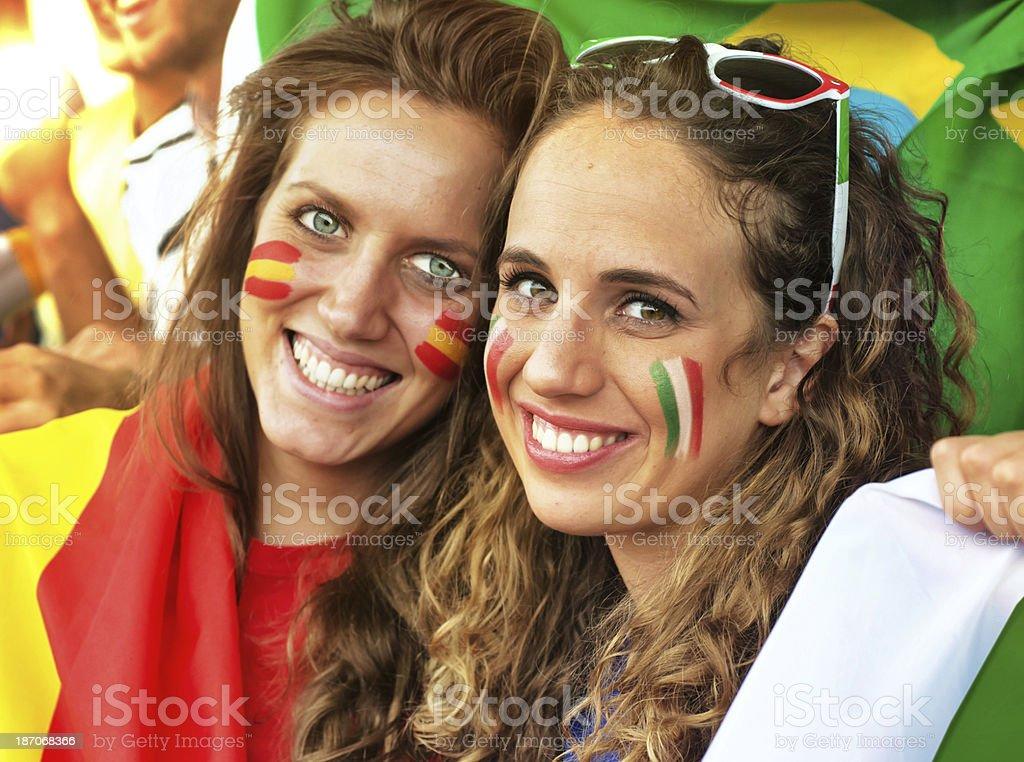 Italian and Spanish Fans royalty-free stock photo