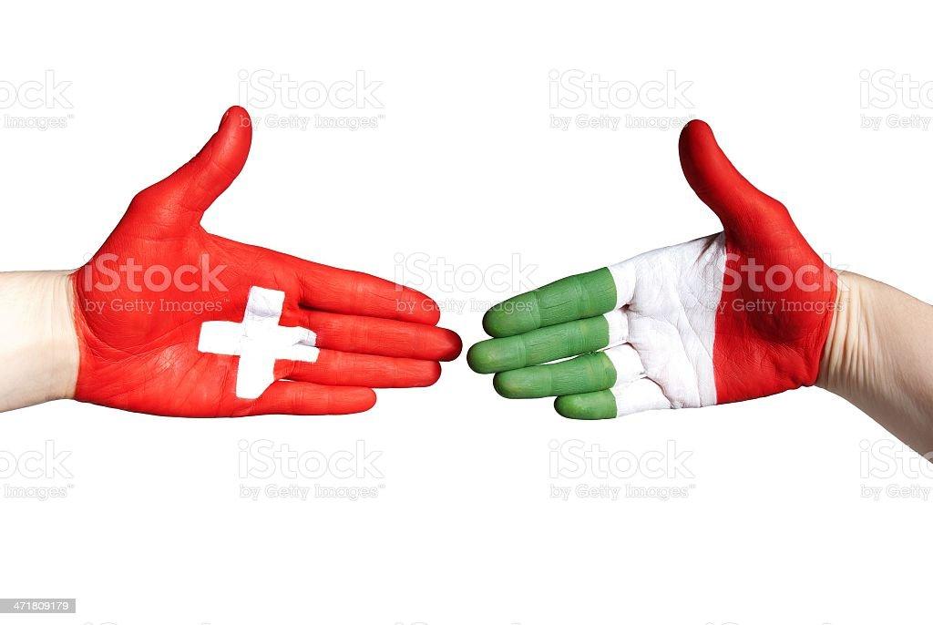 italian and swiss handshake royalty-free stock photo