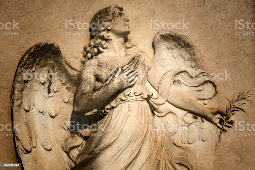 Italian angel on tomb. stock photo