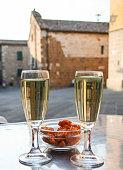 italian aperitif with prosecco wine
