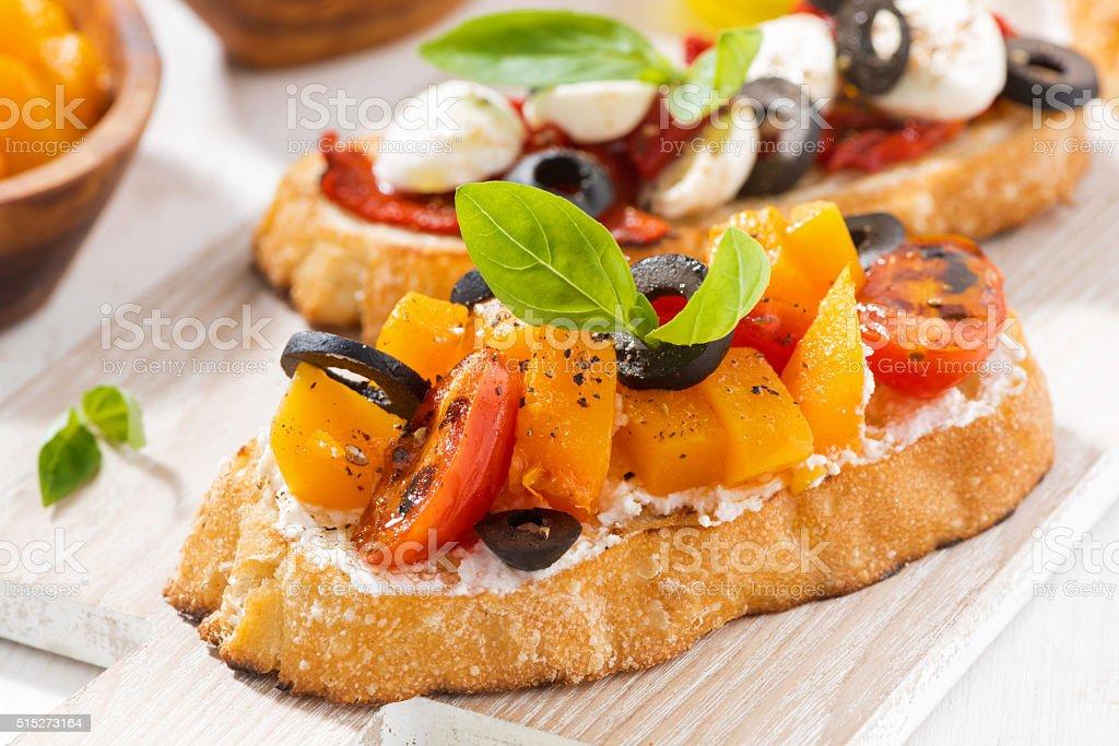 italian appetizer - bruschetta, closeup stock photo
