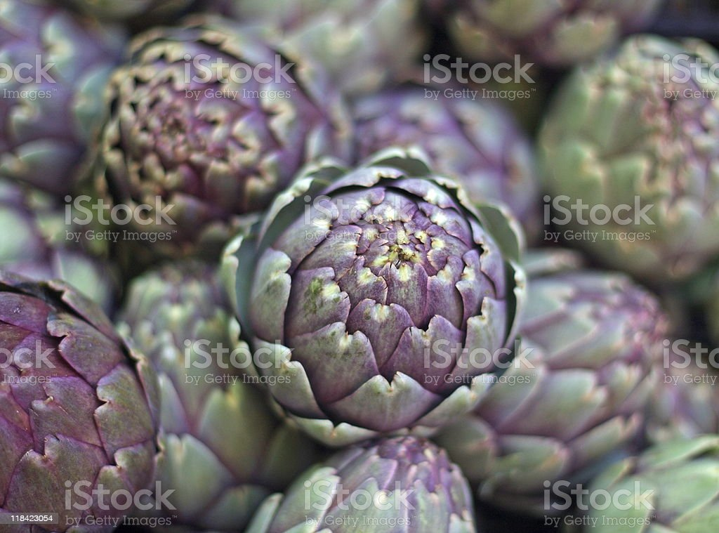 Italian Artichokes at the farmer's Market stock photo