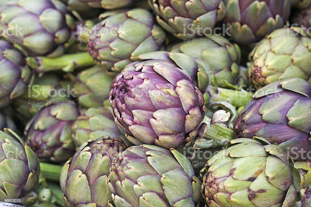 Italian Artichokes at the farmer's Market royalty-free stock photo