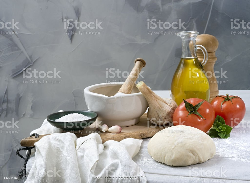 Italian baking ingredients royalty-free stock photo
