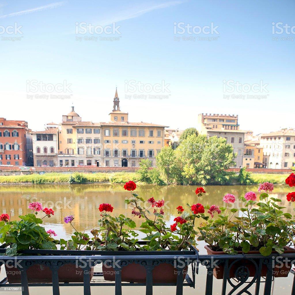 Italian balcony with flowers stock photo