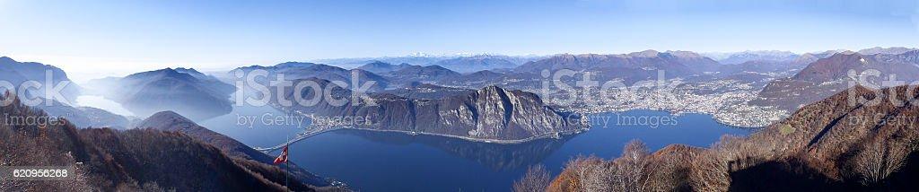 Italian Balcony with views of Lake Lugano stock photo