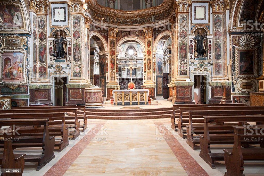 Italian baroque church interior royalty-free stock photo