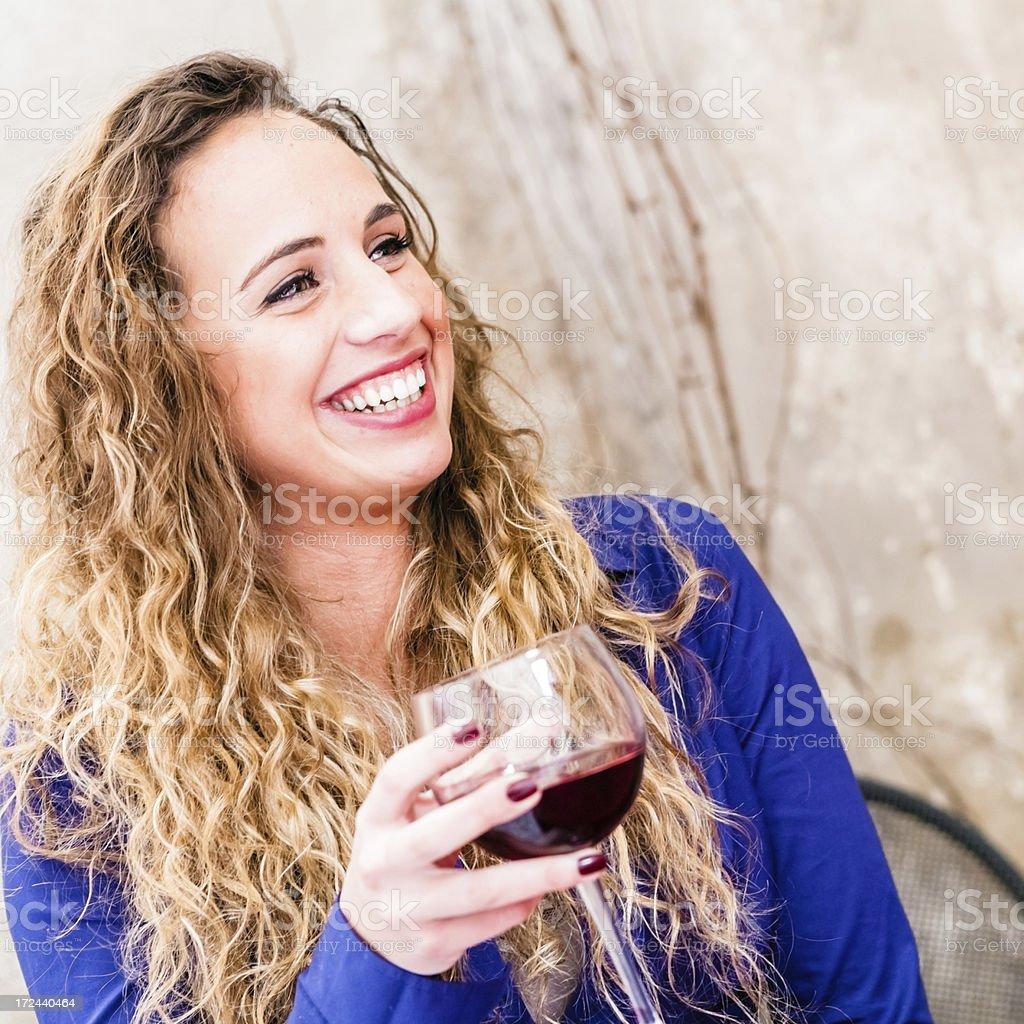 Italian Beauty Enjoying a Glass of Red Wine royalty-free stock photo