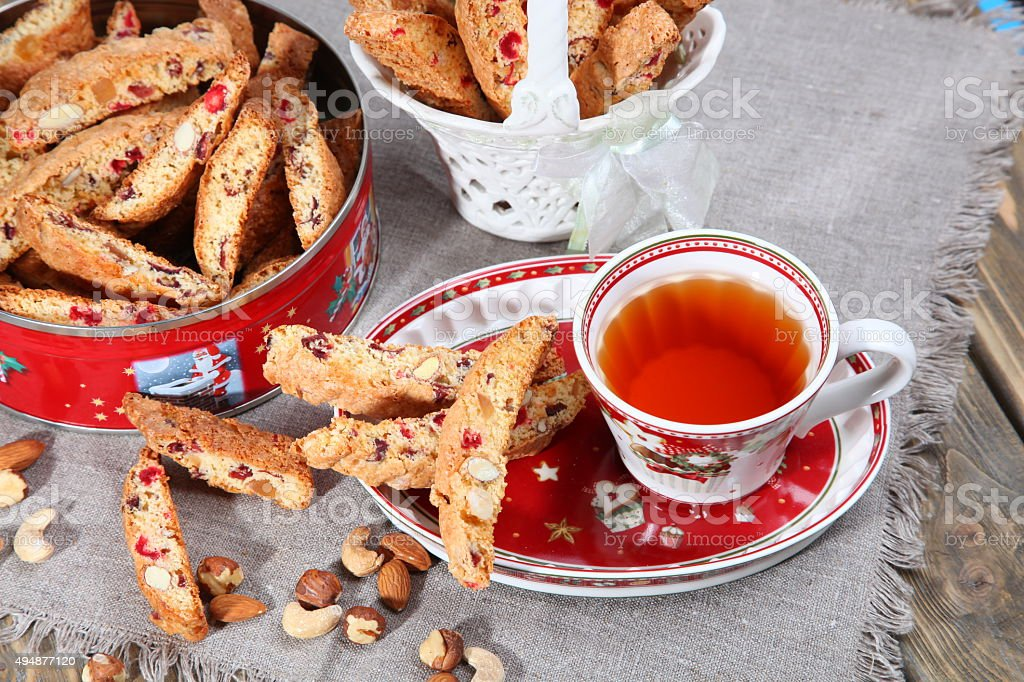 Italian biscotti cookies and tea stock photo