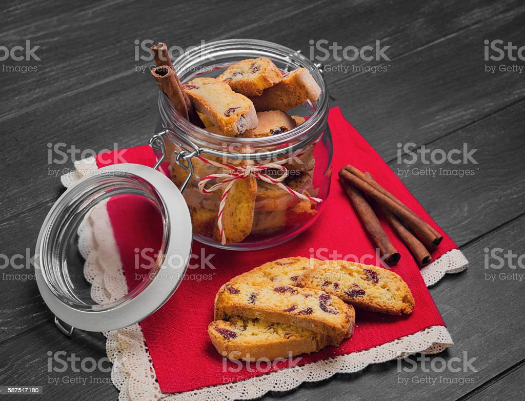 Italian biscotti cookies stock photo