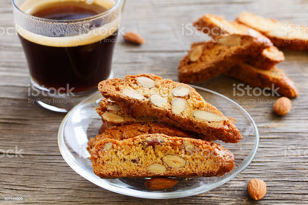 Italian biscotti cookies with a cup of coffee stock photo