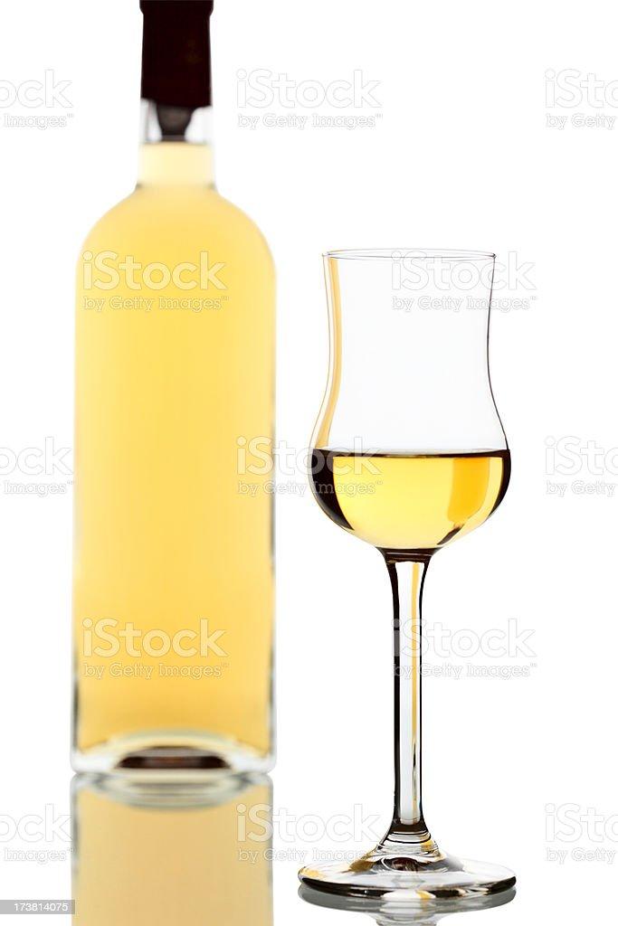 Italian Brandy Grappa Bottle and Glass stock photo