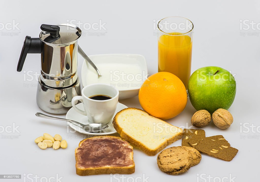 Italian breakfast isolated on a white background stock photo