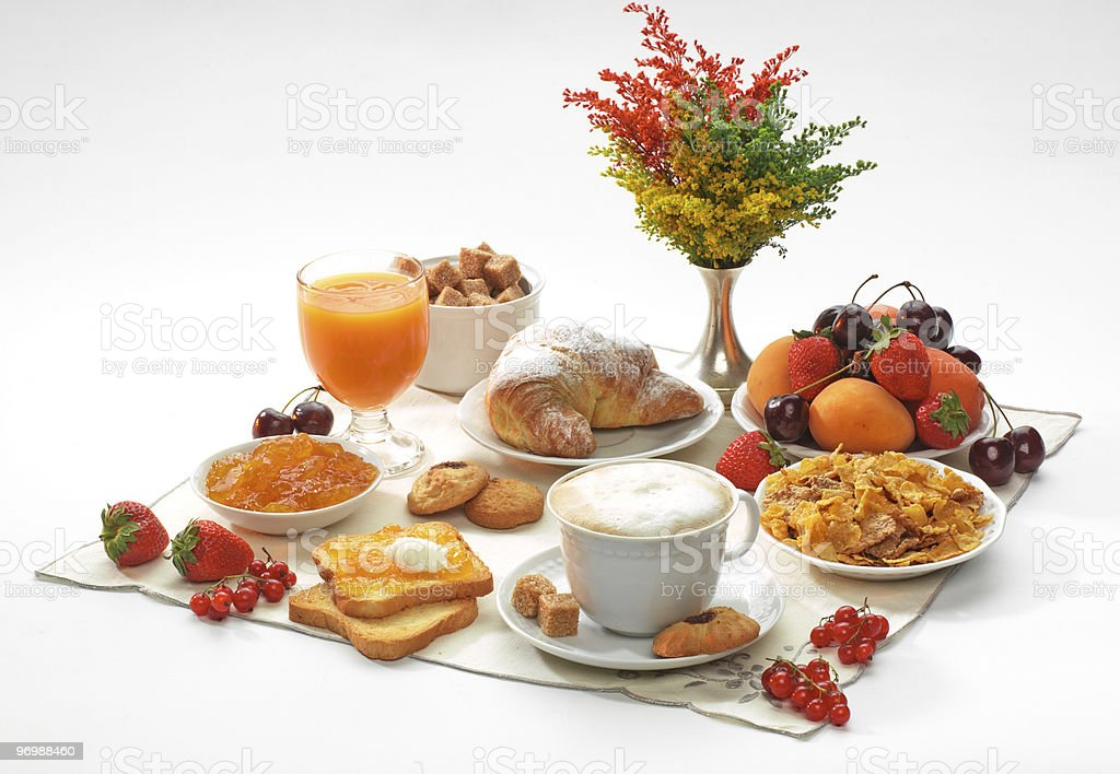 Italian breakfast with cappuccino royalty-free stock photo