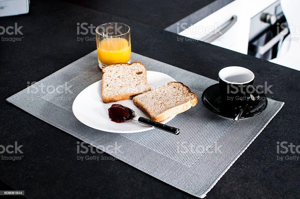 italian breakfast with toast, marmelade and coffee stock photo