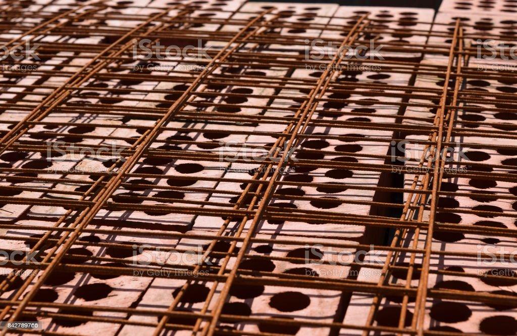 Italian brick and armored lattice stock photo