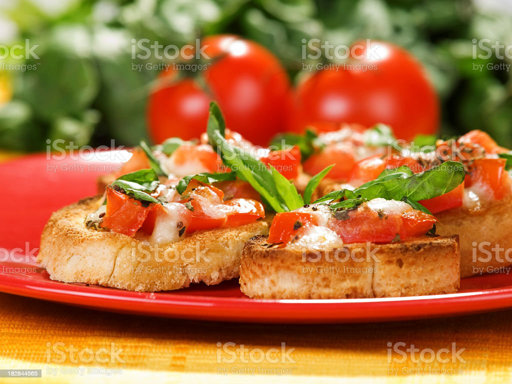 Italian bruschetta with tomatoes royalty-free stock photo