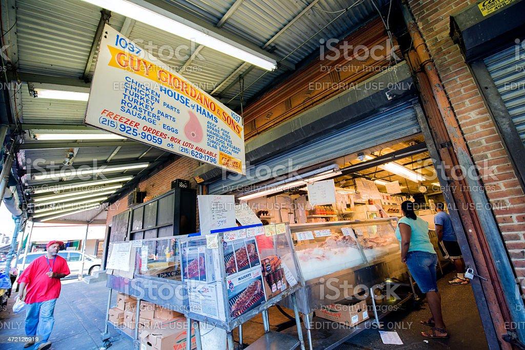 Italian Butcher Shop in Market Neighborhood of Philadelphia royalty-free stock photo