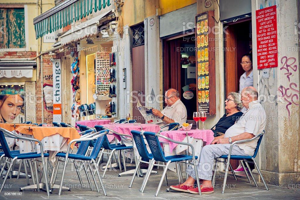 Italian cafe in Venice, Italy stock photo
