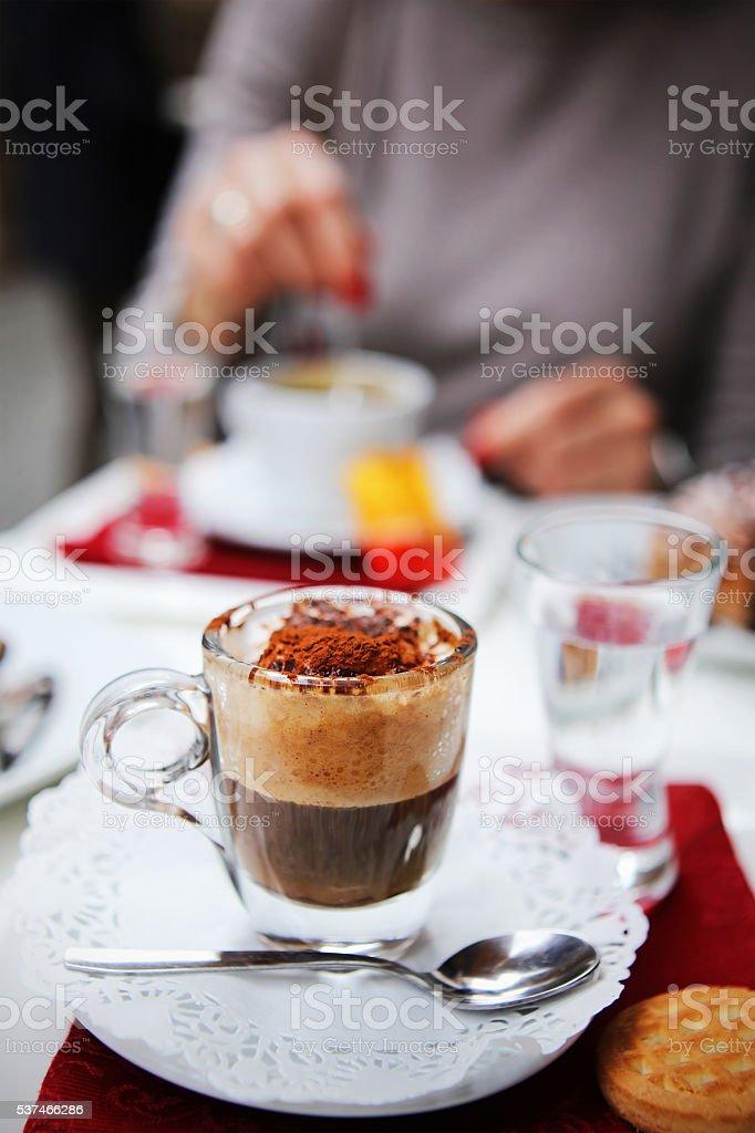 Italian Caffe Marocchino with Cocoa - cafe in Rome Italy stock photo