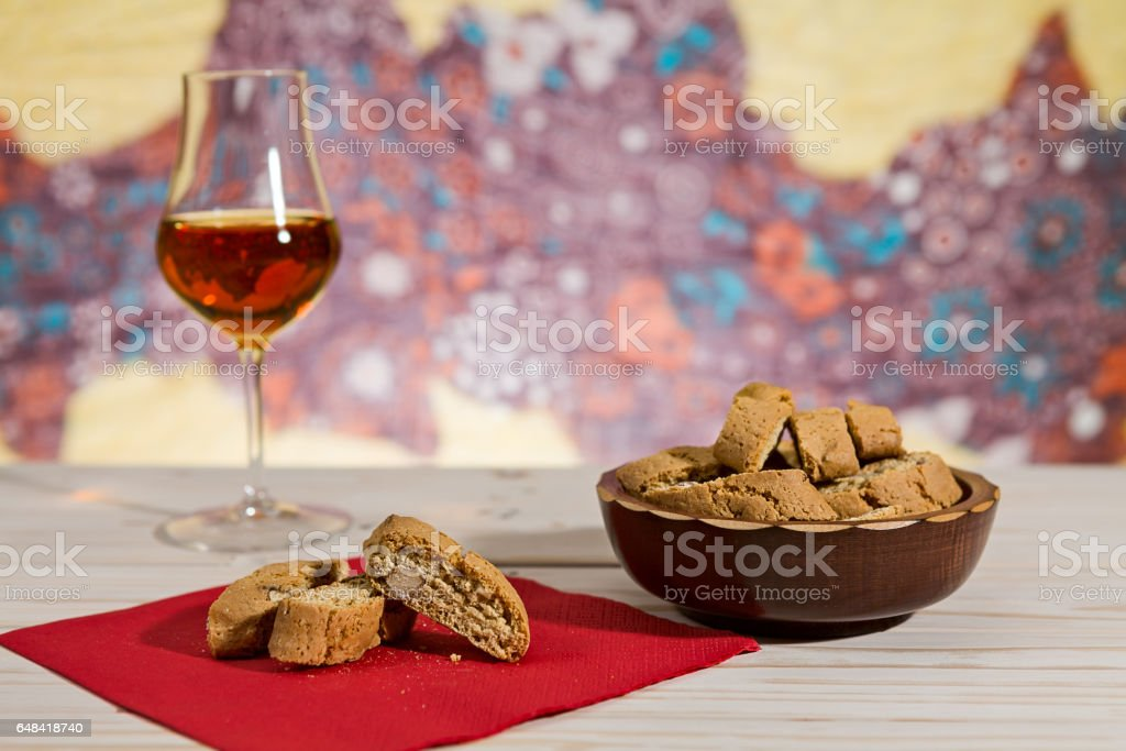 Italian cantucci biscuits over a red napkin stock photo
