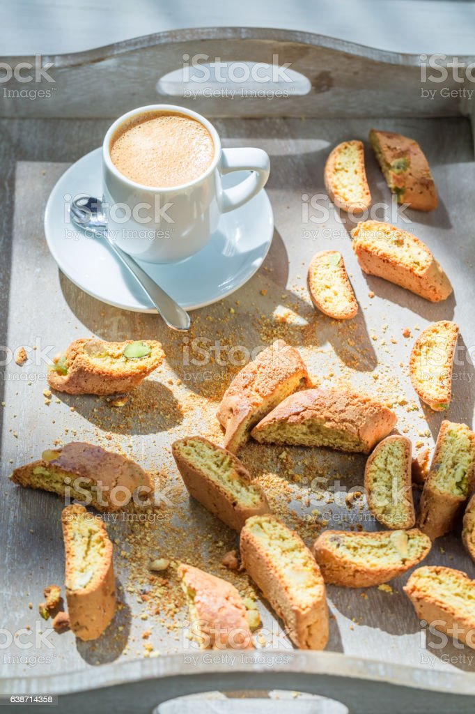 Italian cantucci with espresso in sunny day stock photo