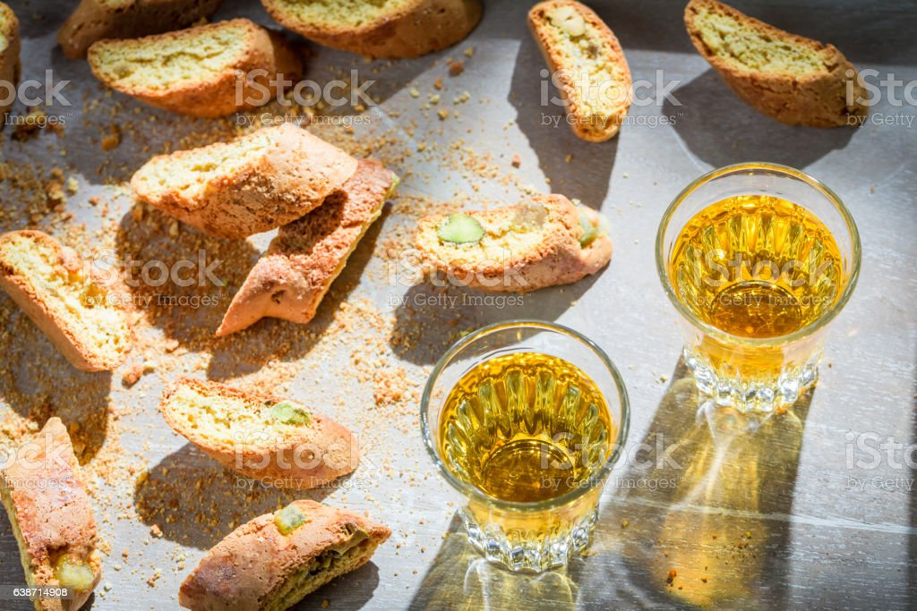 Italian cantucci with peanut and sweet wine stock photo