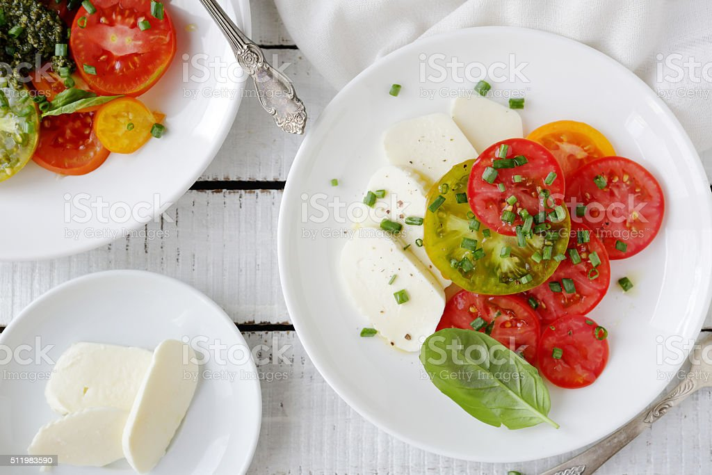 italian caprese salad stock photo
