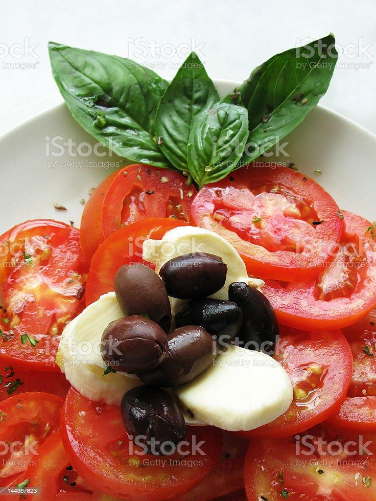 italian caprese tomato mozzarella olive salad royalty-free stock photo