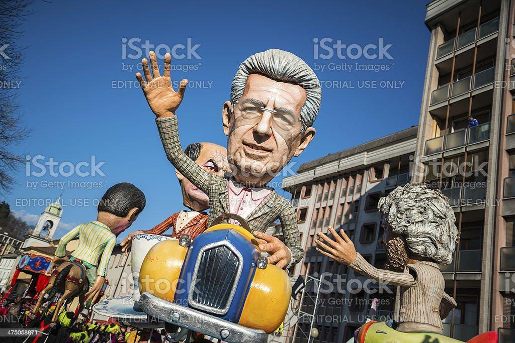 Italian Carnival celebration parade in small town stock photo