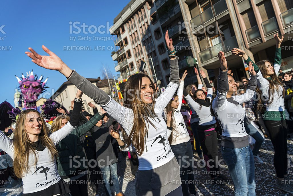 Italian Carnival celebration parade in small town stock photo