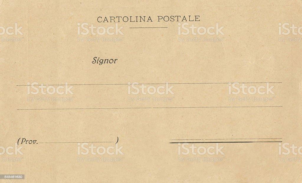Italian Cartolina Postale Antique Postcard Back Unstamped stock photo