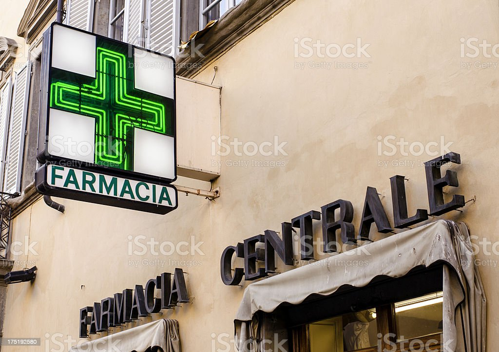 Italian Central Pharmacy with Sign stock photo