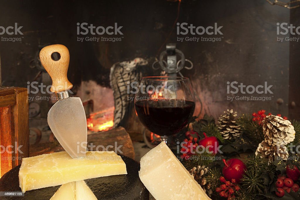 Italian Cheese And Wine royalty-free stock photo