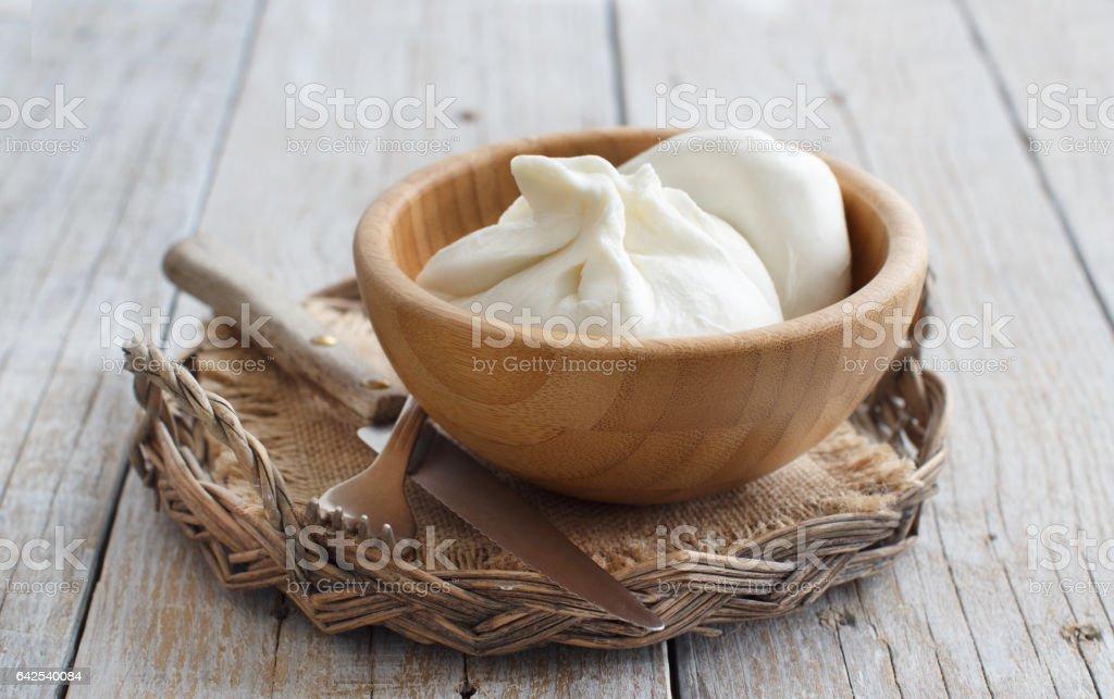 Italian cheese burrata stock photo