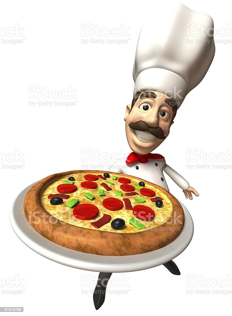 Italian chef with a pizza royalty-free stock photo