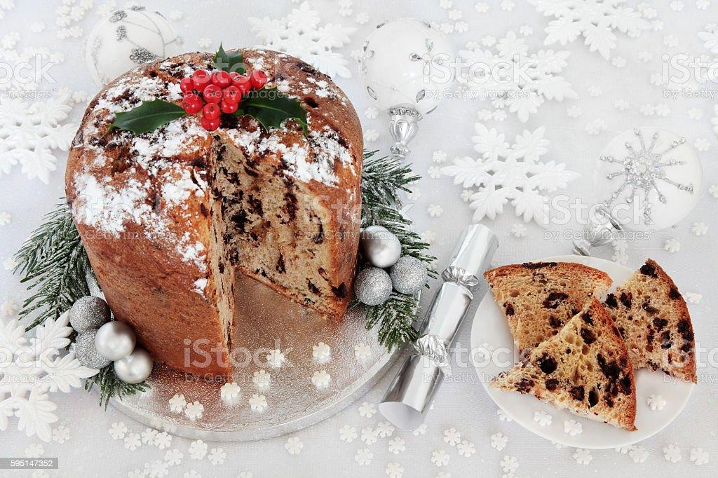 Italian Chocolate Panettone Christmas Cake stock photo