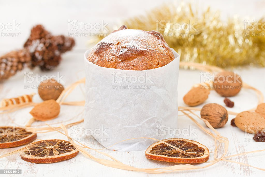 Italian Christmas dessert on white wooden background stock photo
