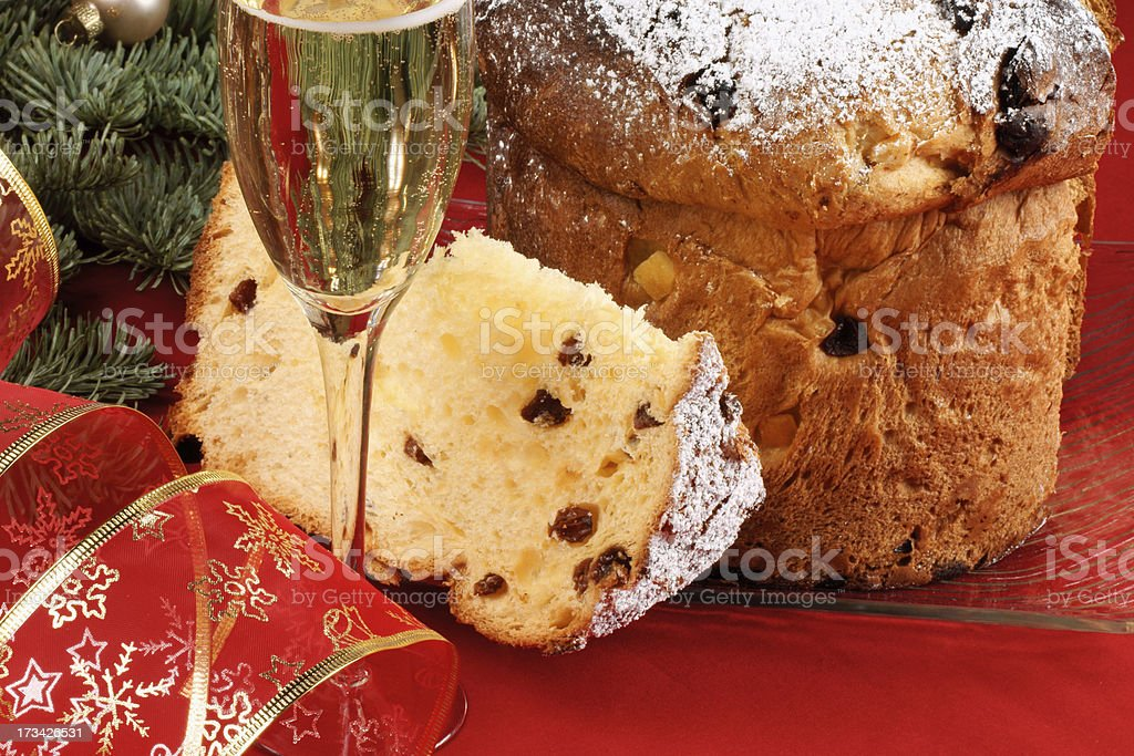 Italian Christmas with spumante and panettone royalty-free stock photo