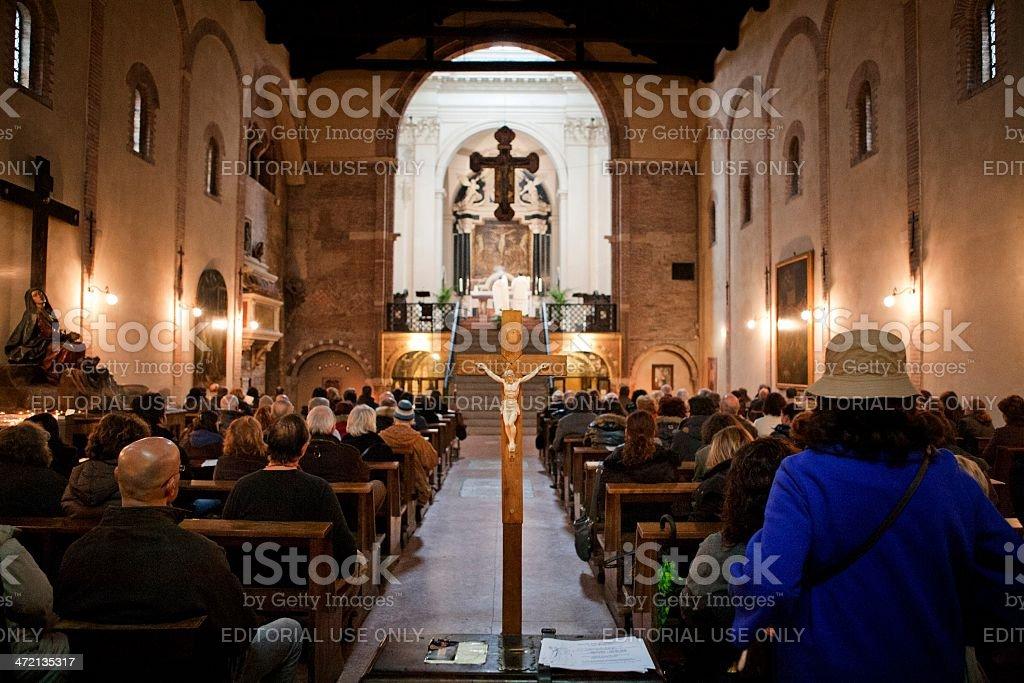 Italian church service stock photo