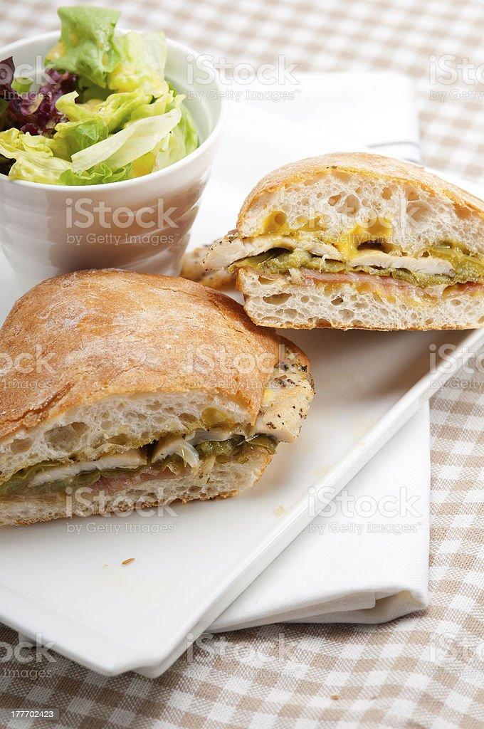 Italian ciabatta panini sandwich chicken royalty-free stock photo